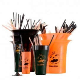 Trago largo flexible Naranja impreso Hallowen Negro